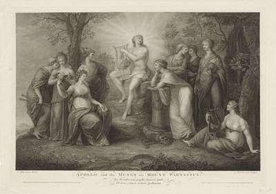 Apollo en de Muzen op de Parnassus; Apollo and the Muses on Mount Parnassus