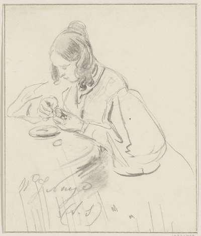 Vrouw aan een tafel