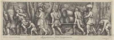 Processie van mannen, vrouwen en kinderen; Aegiptorum sive peregrinato; De aankomst van de Etrusken in Latium (kopieën)