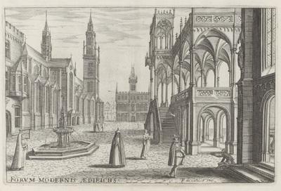 Stadsplein met een kerk en een fontein; Forum Modernis Aedifichs; Architectura