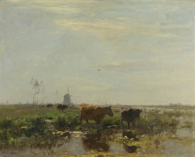 Image from object titled Meadow with Cows by the Water