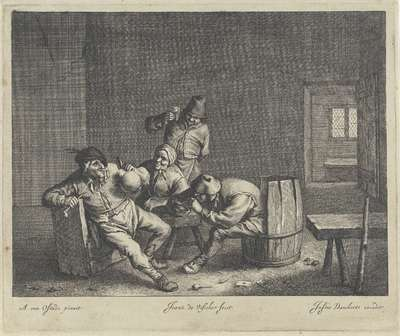 Image from object titled Vier drinkers in een herberg