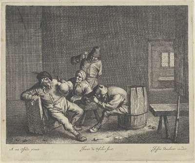 Vier drinkers in een herberg