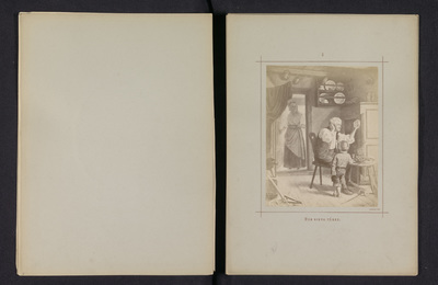 Fotoreproductie van een schilderij door Karl Emanuel Jansson, voorstellende een man en een jongen die kijken naar een lege fles die de man vasthoudt; Den sista tåren