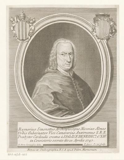 Portret van kardinaal Raniero Felice Simonetti; Portretten van kardinalen met twee wapenschilden; Effigies