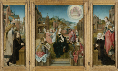 Image from object titled Triptych with Virgin and Child with Saints (center), male Donor with Saint Martin (left, inner wing), female Donor with Saint Cunera (right, inner wing), and the Annunciation (outer wings)