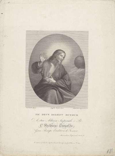 Christus met stigmata en wereldglobe; Sic deus dilexit mundum