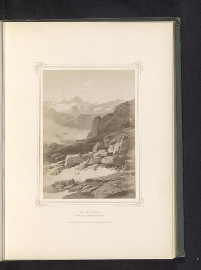 Fotoreproductie van een schilderij van een gezicht vanaf de Furkapas naar de Finsteraarhorn; Auf der Furka. Gegen das Finsteraarhorn gesehen