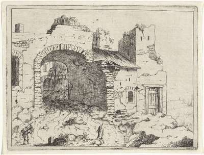 Pad naar een vervallen toegangspoort; Landschappen met ruïnes; Diversa antiquitatis vestigi (...)