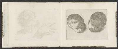 Twee hoofden van jonge kinderen; Tekenvoorbeelden; Mitelli intaglio