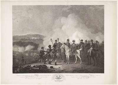 Afbeelding van het Glorierijk tijdstip van den Veldslag bij Waterloo op den XVIIIden van Zomermaand MDCCCXV, waar op aan den Hertog van Wellington opperbevelhebber, door eenige Schotten de op het Fransche Leger veroverde...