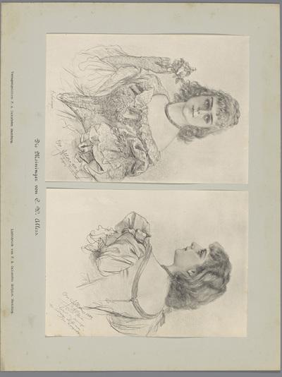 Twee fotoreproducties van tekeningen, voorstellende portretten van een actrice in kostuum; Die Meininger von C. W. Allers