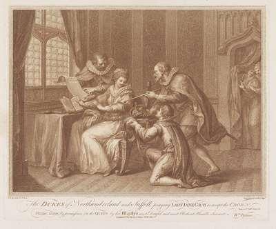 Hertogen van Northumberland en Suffolk vragen Lady Jane Grey de kroon te aanvaarden; The Dukes of Northumberland and Suffolk praying Lady Jane Gray to accept te crown