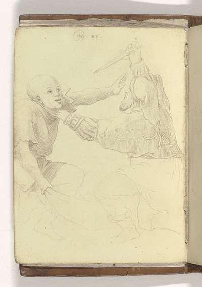 """Twee vechtende romeinse soldaten; Schetsboek """"A.S.Fe"""", 1587, blad 1v(12)"""