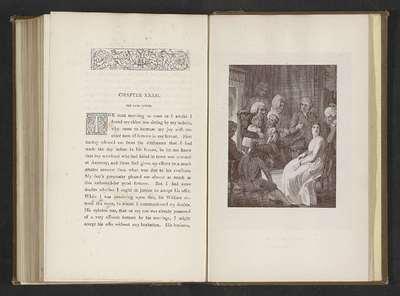 Fotoreproductie van een prent door Thomas Stothard, voorstellend een illustratie voor The Vicar of Wakefield door Oliver Goldsmith; A happy reunion