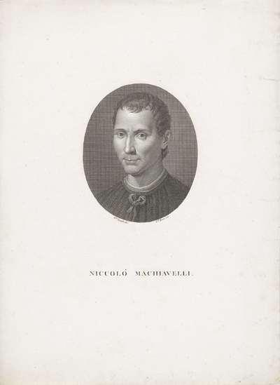 Portret van Niccolò Machiavelli; Portretten van beroemde Italianen in ovalen