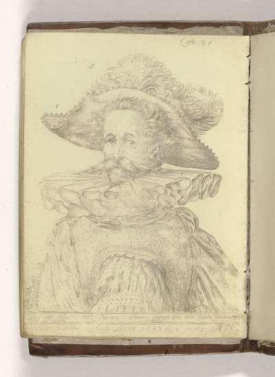 """Borstbeeld van een officier; Schetsboek """"A.S.Fe"""", 1587, blad 6v(12)"""