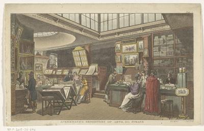 Interieur van Ackerman's Repository of the Arts te Londen; Ackermann's Repository of Arts, 101 Strand