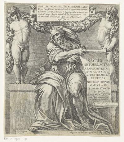 Profeet Jesaja met papierrol en twee putti; Sacrae Historiae Acta a Raphael Urbin in Vaticanis xystis ad picturae miraculum expressa; Rafaël Bijbel
