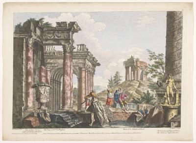 Gezicht op de ruïnes van de Boog van Septimius Severus, de Zuil van Trajanus en andere monumenten te Rome; Romeinse oudheid