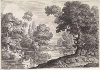Landschap met jager die op eenden jaagt