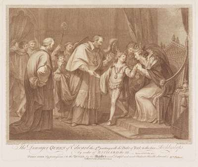 Weduwe van Edward IV staat haar zoon aan twee aartsbisschoppen af; The Dowager Queen of Edward the 4th parting with the Duke of York to the two Archbishops, by order of Richard the III
