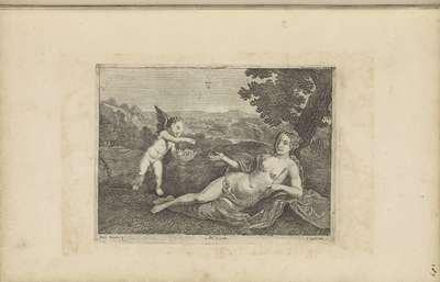 Amor brengt Venus een mand met bloemen