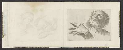 Hand en hoofd van een naar boven kijkende oudere man; Tekenvoorbeelden; Mitelli intaglio