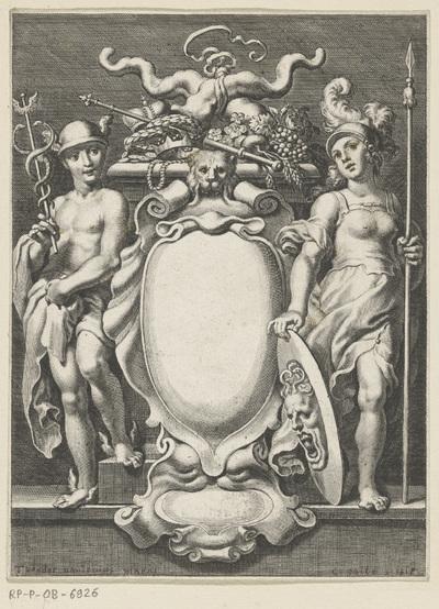 Allegorische titelpagina met Mercurius en Minerva