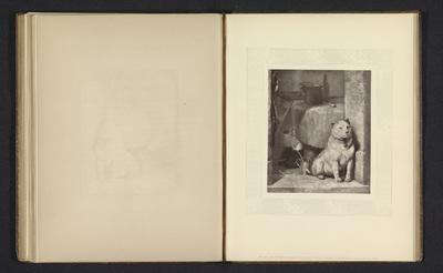 Fotoreproductie van een prent naar een schilderij met een hond voor een tafel door Edwin Henry Landseer