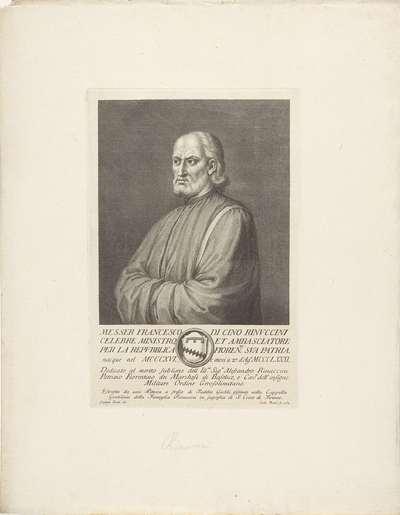 Portret van Francesco Rinuccini; Portretten van beroemde Italianen met wapenschild in ondermarge
