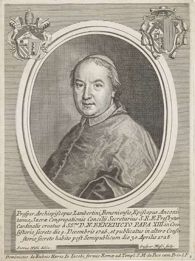 Portret van kardinaal Prospero Lorenzo Lambertini, de latere paus Benetictus XIV; Portretten van kardinalen met twee wapenschilden; Effigies