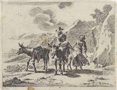 Jonge herder op een ezel en een herderin