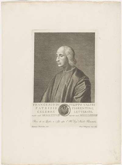 Portret van Francesco Valori; Portretten van beroemde Italianen met wapenschild in ondermarge