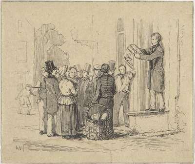 Man de afschaffing van sterke dranken verkondigend aan een groep figuren op straat; Afschaffing van sterke dranken in 1838
