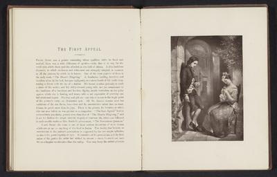 Fotoreproductie van een prent naar een schilderij, voorstellende een man en een handwerkende vrouw