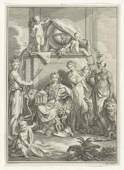Allegorische voorstelling met personificaties van vier werelddelen