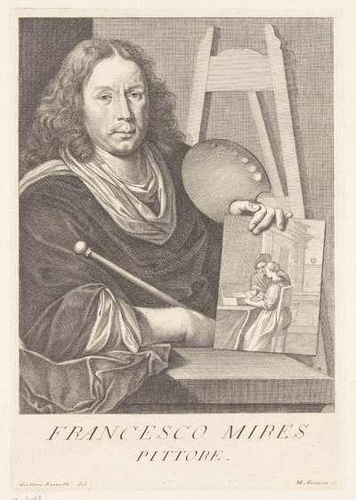 Portret van kunstenaar Frans van Mieris; Portretten van kunstenaars