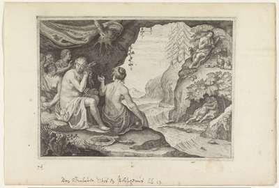 Polyphemus en Acis beminnen Galatea; Metamorfosen van Ovidius