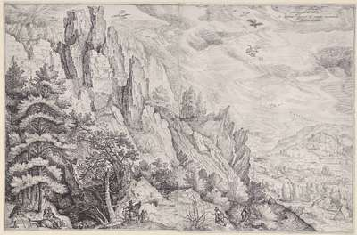 Mountain Landscape with an Amorous Couple and a Hunter