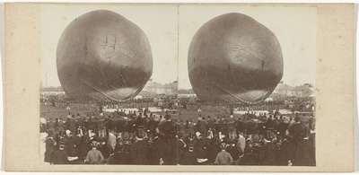 Image from object titled Oplating van Nadars luchtballon op een terrein buiten de Utrechtse Barrière, Amsterdam, 14 september 1865