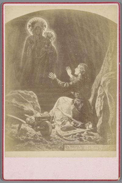 Fotoreproductie van de tekening door Arthur Grottger uit de serie Litouwen, voorstellende een mens met een visioen in een mijn