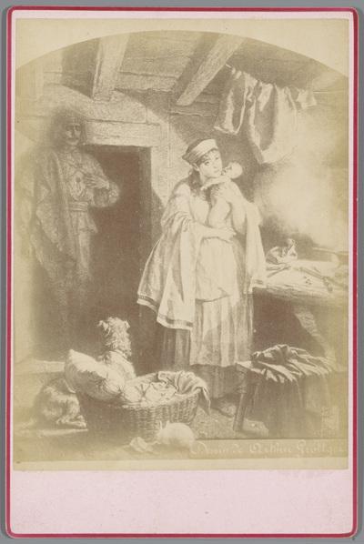 Fotoreproductie van de tekening door Arthur Grottger uit de serie Litouwen, voorstellende een vrouw met een baby met achter haar vermoedelijk een geestverschijning van een man