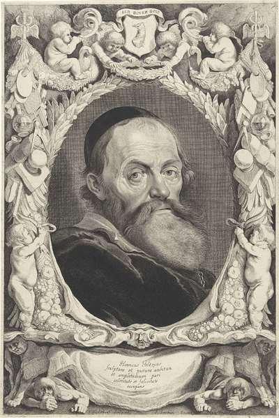 Portret van Hendrick Goltzius; Qvatuor Personae Qvibus Leyda Debent