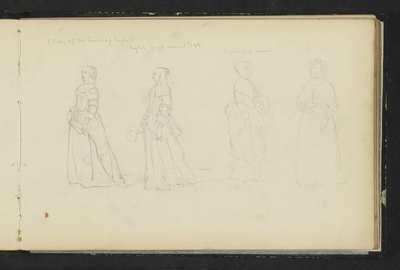 Vier vrouwen in zeventiende-eeuwse kleding