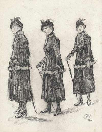 Drie studies van een wandelende dame in mantelkostuum
