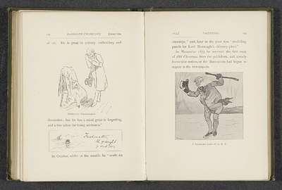 Fotoreproductie van een tekening door Randolph Caldecott, voorstellend een oude man op schaatsen; A Christmas Card to K.E.B.