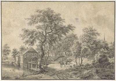 Landschap met watermolen en twee ruiters