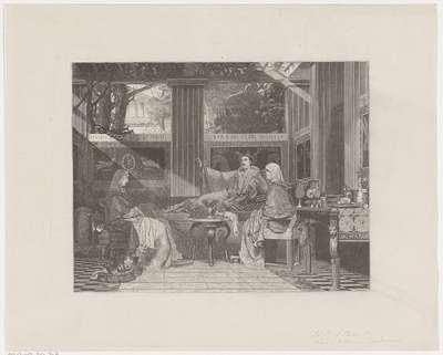 Classicistische scène met een man op een sofa
