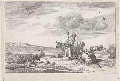 Herderin met spintol aan de oever van een rivier